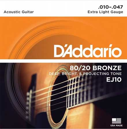 Струны D'Addario Bronze 80/20 Acoustic Guitar Strings EJ10 Extra-Light 10-47
