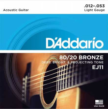 Струны D'Addario Bronze 80/20 Acoustic Guitar Strings EJ11 Light 12-53