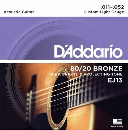 Струны D'Addario Bronze 80/20 Acoustic Guitar Strings EJ13 Light 11-52