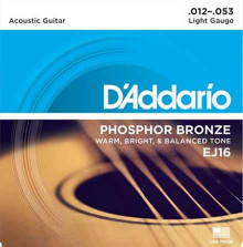 Струны D'Addario Phosphor Bronze Acoustic Guitar Strings EJ16 Light 12-53
