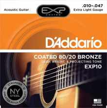 Струны D'Addario Bronze 80/20 Acoustic Guitar Strings EXP10 Extra-Light 10-47