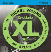 Струны для бас-гитары D'ADDARIO  EXL165 Medium-Light 45-105