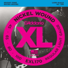 Струны для бас-гитары D'ADDARIO  EXL170 Light 45-100